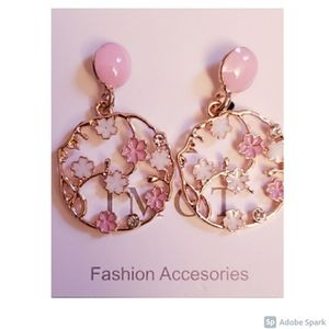 Jewelry - Free with Purchase! NWOT Floral Hoop Earrings